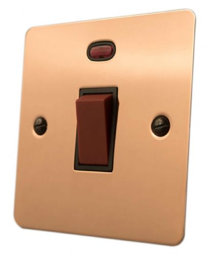 G&H FBC46B Flat Plate Bright Copper 45 Amp DP Cooker Switch & Neon Single Plate
